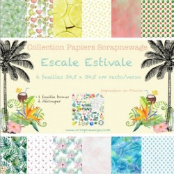 Collection Papier Scrapnewage Escale Estivale 30x30