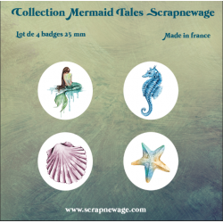 Lot Badges Mermaid Tales